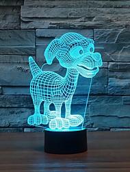 adorável cachorrinho 3D conduziu a noite lâmpada usb poder toque lâmpada botton mesa