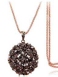 Exquisite Crystal Rose Pendant Necklace Jewelry for Lady