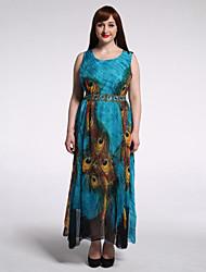 Women's Beach / Plus Size Boho Chiffon / Skater Dress,Animal Print Round Neck Maxi Sleeveless Green Spandex Summer