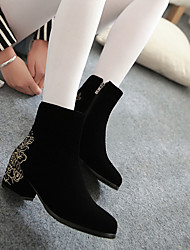 Boots Fall / Winter Combat Boots Fleece Outdoor / Casual Chunky Heel Others / Zipper Black