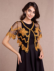 Women's Wrap Shrugs Short Sleeve Tulle More Colors Party/Evening / Casual Scoop 43cmPattern /