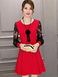 Women's Going out Street chic A Line Dress,Patchwork Round Neck Above Knee Long Sleeve