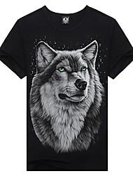 Popular Elements Man 3D Tide Printing Gray Wolf T-shirts