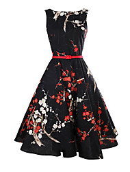 Women's Holiday Vintage Sheath Dress,Floral Round Neck Knee-length Sleeveless Black Cotton Summer