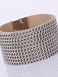 European Style Fashion Multilayer Chain Wild PU Magnet Alloy Buckle Bracelet