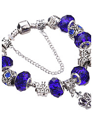 Style Silver Crystal Charm Bracelet for Women Beads DIY Jewelry #YMGP1017
