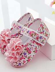 Para NiñaPrimeros Pasos / Zapatos de Cuna-Bailarinas-Exterior / Casual-Algodón / Tejido-Rosa
