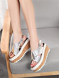 Women's Summer Comfort / Open Toe Leatherette Outdoor Platform Silver / Gold