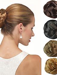 novia de la boda updo moño pinzas bollo extensiones de cabello sintéticas rectas más colores