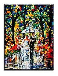 Pintados à mão Pessoas Estilo Europeu / Modern / Clássico / Tradicional / Realismo / Mediterrêneo / Pastoril,1 Painel TelaHang-painted
