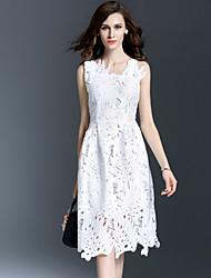 Viva Vena® Women's Round Neck Sleeveless Tea-length Dress-VA88181