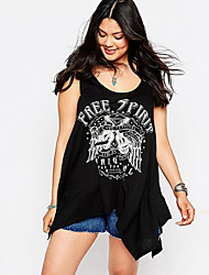 Women's Casual/Daily Street chic Free Spirit Loose Summer Tanks,Print Round Neck Sleeveless