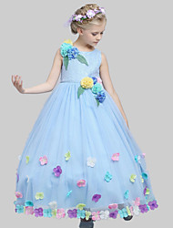 A-line Ankle-length Flower Girl Dress-Cotton / Satin / Tulle Sleeveless