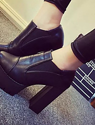 Women's Boots Fall Winter Leather Casual Chunky Heel Split Joint Black Gray