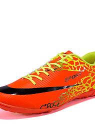 Sapatos Futebol Masculino Laranja / Preto e Vermelho Couro Ecológico