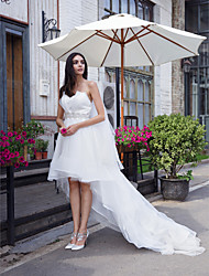 LAN TING BRIDE A-line Wedding Dress Little White Dress Asymmetrical Sweetheart Organza with Crystal