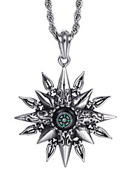 Kalen®2016 Unique Design Jewelry Men's Stainless Steel Octagon Stars Shaped Compass Pendant Necklace