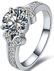 Genuine Brand 2CT SONA Diamond Ring for Girl Sterling Silver in Platinum Plated Engagement Ring Solitaire with Accents