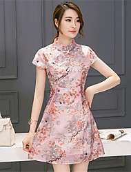De las mujeres Línea A Vestido Noche Vintage,Floral Escote Chino Sobre la rodilla Manga Corta Rosa Algodón / Licra Verano