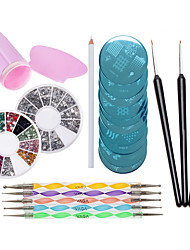 Nail Art Designs Set  1pcs Stampers and Scrapers,10pcs Stamping Plates, 5pcs Dotting Tools