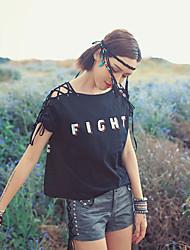 MizhenWomen's Print Black T-shirt,Boat Neck Short Sleeve