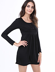 Women's Sexy Casual Cute Plus Sizes Micro Elastic Long Sleeve Above Knee Dress (Cotton)