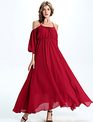 Women's Going out / Holiday Sexy A Line / Chiffon Dress,Solid Strap Maxi ¾ Sleeve Red Polyester / Others All Seasons