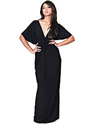 Women's Plus Size Casual/Daily Sexy Swing Dress,Solid Deep V Maxi ½ Length Sleeve  Polyester Nylon Summer
