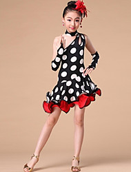 Latin Dance Dresses Children's Performance Polyester Side-Draped / Polka Dots 1 Piece Red / White