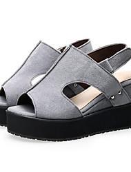 Women's Shoes Fleece Wedge Heel Wedges / Peep Toe / Platform Sandals Office & Career / Dress / Casual Black / Red /