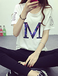 Women's Casual/Daily Cute Summer T-shirt,Geometric Round Neck Short Sleeve White Polyester Thin