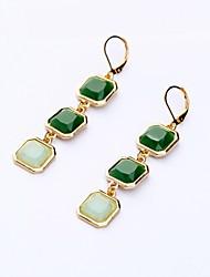 European Luxury Gem Geometric Earrrings Vintage Square Long Drop Earrings for Women Fashion Jewelry Best Gift