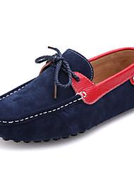 Herren-Flache Schuhe-Lässig-Nappaleder-Flacher Absatz-Pumps-Blau / Gelb / Taubengrau