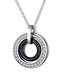 Women Fashion Stainless Steel Zircon Ceramic Necklace Multi-facility Bohemia Style Pendant Necklace