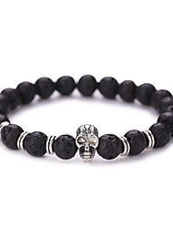 Bracelet Skull Head Buddha Beads Charm Barcelet Bangles Lava Energy Volcano Natural Stone Yoga Jewelry Strand Braceletsfor Men/Women Halloween 1 pcs