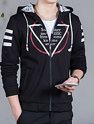 Men's Long Sleeve Casual / Work / Formal / Sport / Plus Sizes Jacket,Cotton / Polyester Solid Black / Red / Gray