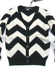 Girl's Casual/Daily Striped Sweater & Cardigan,Cotton Spring / Fall Black