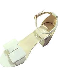 Damen Sandalen PU Sommer Normal Schnalle Blockabsatz Block Ferse Weiß Grau Purpur 5 - 7 cm