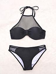Bikinis Aux femmes Maille Licou Nylon / Spandex