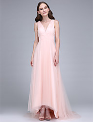 Lanting Bride® Sweep / Brush Train Tulle Bridesmaid Dress - Sheath / Column V-neck with Criss Cross