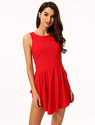 Women's Crew Neck Mini Dress , Polyester Blue/Red/White/Black Sexy/Casual