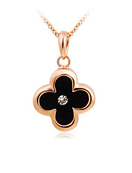 HKTC Women's Lovely Gift Jewelry 18K Rose Gold Plated Crystal Alloy Black Plum Blossom Clover Pendant Necklace