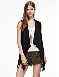 HEARTSOUL Women's Going out Simple Summer Jackets,Solid Round Neck Sleeveless Black / Brown Cotton / Polyester / Spandex Thin