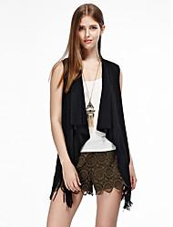 les femmes heartsoul de sortir des vestes d'été simples, solides manches col rond noir / brun coton / polyester / spandex mince