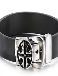 Lederen armbanden 1 stuks,Modieus Geometrische vorm Zwart Leder Sieraden Gifts