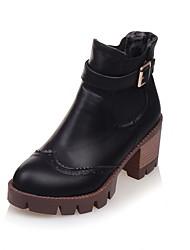 Черный Серый Бордовый-Женский-Для праздника-Дерматин-На толстом каблуке-Модная обувь
