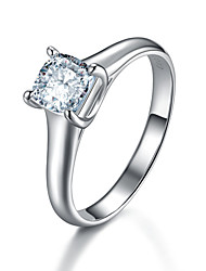 6*6mm Genuine T Brand Cushion Cut Solitaire Engagement Ring 1CT SONA Diamond Ring for Women 4Prongs Setting Solid Silver