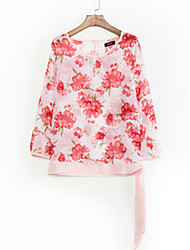 Women's Floral Blue / Red Blouse,Round Neck ¾ Sleeve