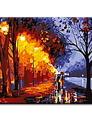 Wall Sticker Hand Painted Oil Painting Walking In Rain with Stretched Frame Ready to Hang