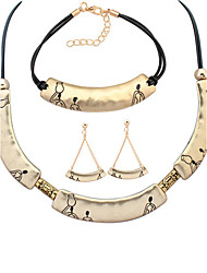 European Style Fashion Simple Metal Crescent Necklace Bracelet Earring Set